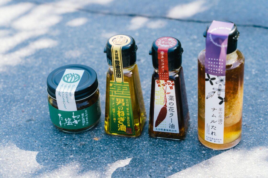 主力の菜の花油とひまわり油をベースとしたドレッシングや香味油などの食用を中心に、ローションなどの化粧品までラインナップも多数
