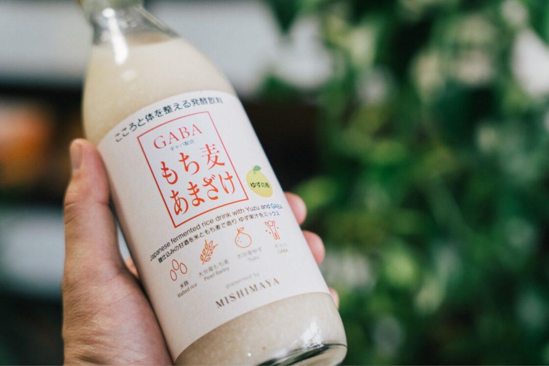 玖珠米と三和酒類(宇佐市)のGABAを配合した『GABAもち麦あまざけ』